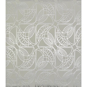 Antonina Vella Modern Metals Cartouche White and Silver Wallpaper