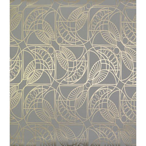 Antonina Vella Modern Metals Cartouche Grey and Gold Wallpaper