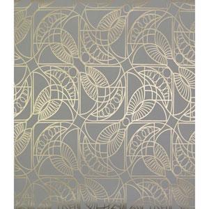 Antonina Vella Modern Metals Cartouche Grey and Gold Wallpaper