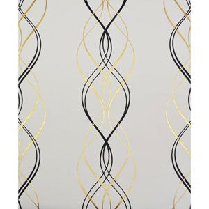 Antonina Vella Modern Metals Aurora Black, White and Gold Wallpaper