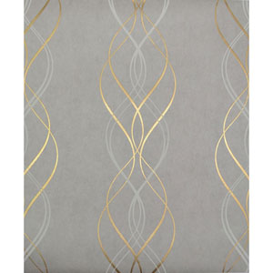 Antonina Vella Modern Metals Aurora Grey and Gold Wallpaper