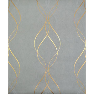 Antonina Vella Modern Metals Aurora Blue and Gold Wallpaper