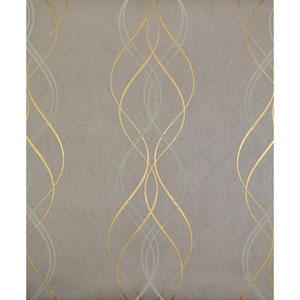 Antonina Vella Modern Metals Aurora Khaki and Gold Wallpaper