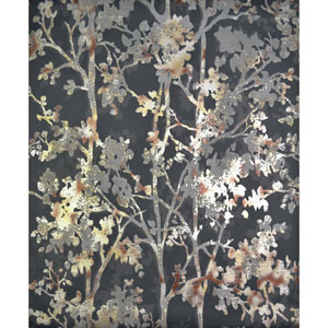 Antonina Vella Modern Metals Shimmering Foliage Black and Multicolor Wallpaper