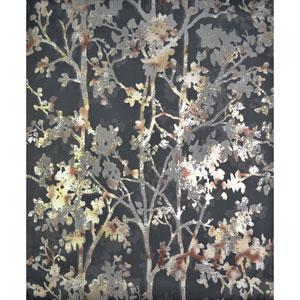 Antonina Vella Modern Metals Shimmering Foliage Black and Multicolor Wallpaper