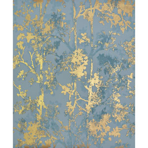 Antonina Vella Modern Metals Shimmering Foliage Blue and Gold Wallpaper
