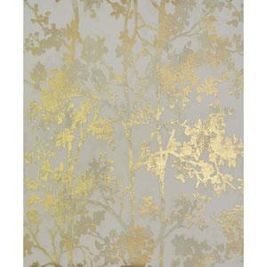 Antonina Vella Modern Metals Shimmering Foliage Almond and Gold Wallpaper