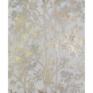 Antonina Vella Modern Metals Shimmering Foliage White and Gold Wallpaper