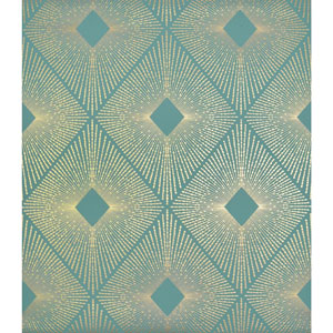 Antonina Vella Modern Metals Harlowe Teal and Gold Wallpaper