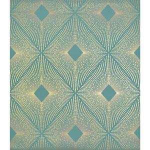 Antonina Vella Modern Metals Harlowe Teal and Gold Wallpaper