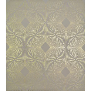 Antonina Vella Modern Metals Harlowe Khaki and Gold Wallpaper