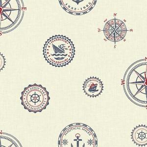 Nautical Living Warm White and Marine Blue Nautical Spot Wallpaper