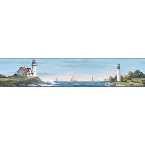 Nautical Living Bright Blue and White Sailing Lighthouse Border