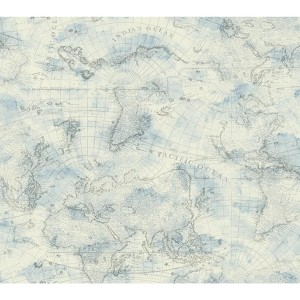 Nautical Living Cream and Sky Blue Coastal Map Wallpaper