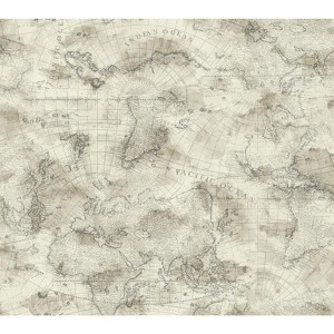 Nautical Living Cream and Ecru Coastal Map Wallpaper