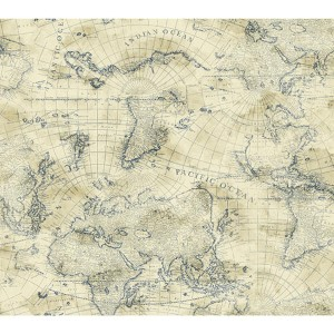 Nautical Living Cream and Marine Blue Coastal Map Wallpaper