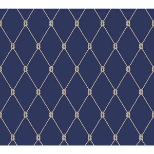 Nautical Living Marine Blue and White Knot Trellis Wallpaper