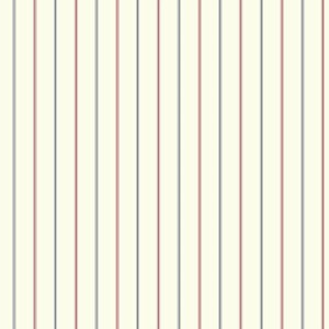 Nautical Living Eggshell and Bright Red 3-Pinstripe Wallpaper