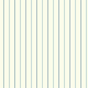 Nautical Living White and Navy Blue 3-Pinstripe Wallpaper