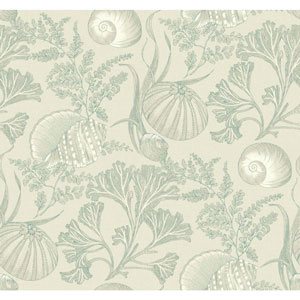 Nautical Living shimmering cream and White Coral Shells Wallpaper
