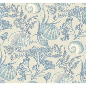 Nautical Living Beige and Indigo Blue Coral Shells Wallpaper