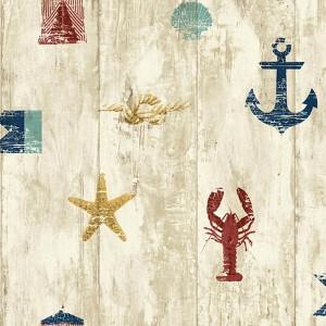 Nautical Living Aqua and Gold Weathered Seashore Wallpaper