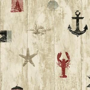 Nautical Living Red and Black Weathered Seashore Wallpaper