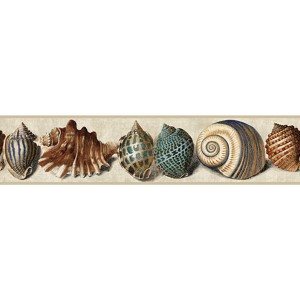 Nautical Living Marine Blue and Indigo Blue Shell Border