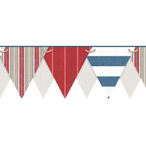 Nautical Living Multicolor Striped Pennant Border