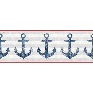 Nautical Living Smoky Blue and White Anchors Away Border