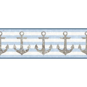 Nautical Living Brown and Aged Silver Sheen Anchors Away Border