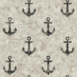 Nautical Living Black and Silver Streak Anchor Away Wallpaper
