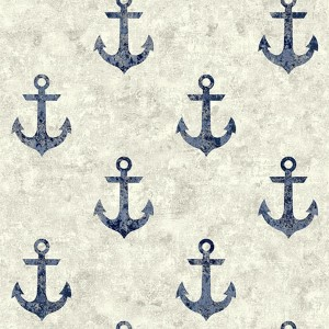Nautical Living White and Navy Blue Anchor Away Wallpaper
