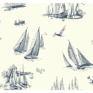 Nautical Living White and Blueprint Blue Sailboat Toile Wallpaper