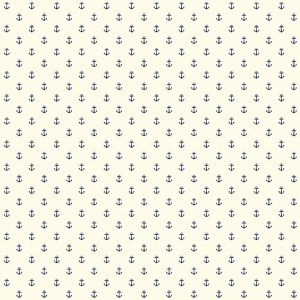 Nautical Living Off White and Navy Blue Anchor Spot Wallpaper