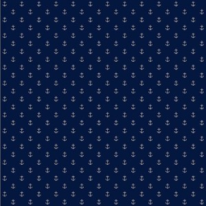 Nautical Living Marine Blue and White Anchor Spot Wallpaper