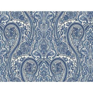 Nautical Living Medium Blue and Black Paisley Wallpaper