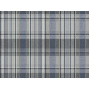 Nautical Living Light Grey and White Bartola Plaid Wallpaper