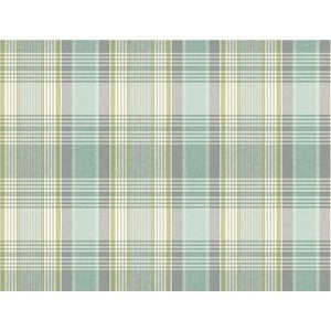 Nautical Living Beach Grass Yellow and Green Bartola Plaid Wallpaper