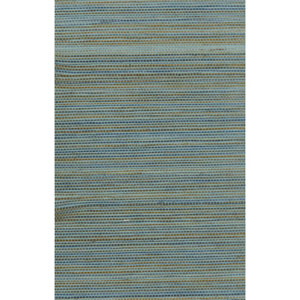 Ronald Redding Designer Resource Aqua and Grey Grasscloth Petite Sisal Wallpaper