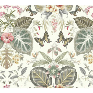 Outdoors In Tropical Butterflies Neutral and Red Wallpaper