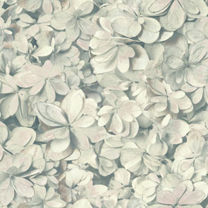Outdoors In Hydrangea Bloom Grey and Pink Wallpaper