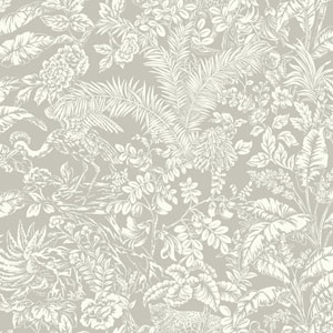 Outdoors In Botanical Sanctuary Grey Wallpaper