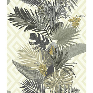 Outdoors In Tropical Oasis Stripe Neutral and Green Wallpaper