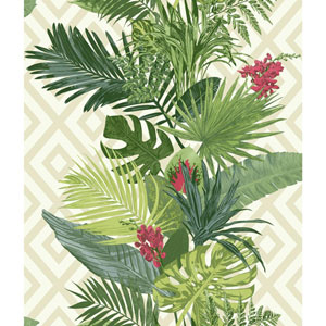 Outdoors In Tropical Oasis Stripe Bright Green Wallpaper