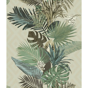 Outdoors In Tropical Oasis Stripe Pebble Wallpaper