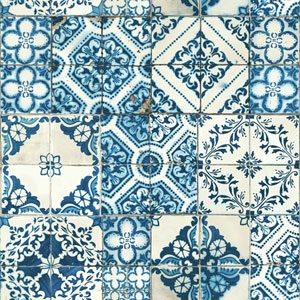 Outdoors In Mediterranean Tile Blue Wallpaper