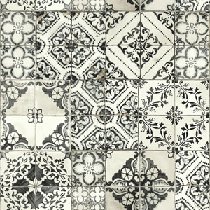 Outdoors In Mediterranean Tile Black Wallpaper