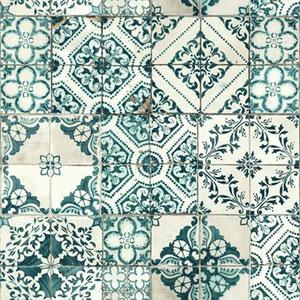Outdoors In Mediterranean Tile Teal Wallpaper