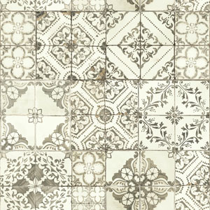 Outdoors In Mediterranean Tile Neutral Wallpaper